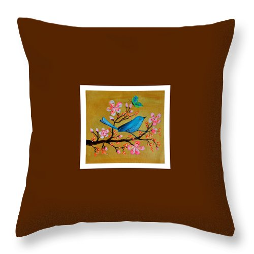 Birds Throw Pillow featuring the painting Birds by Archana Kalra