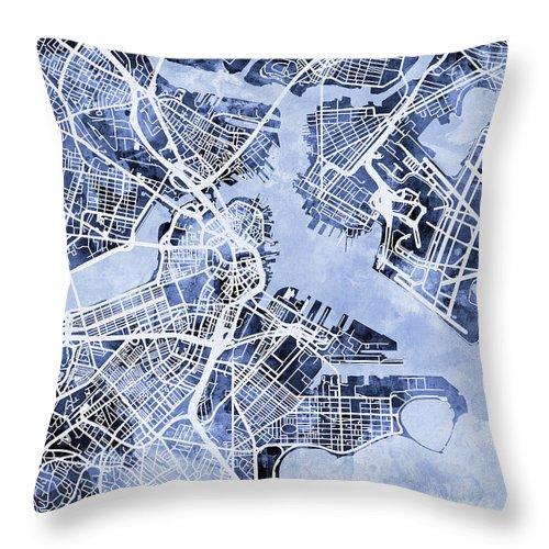 Street Map Throw Pillow featuring the digital art Boston Massachusetts Street Map by Michael Tompsett