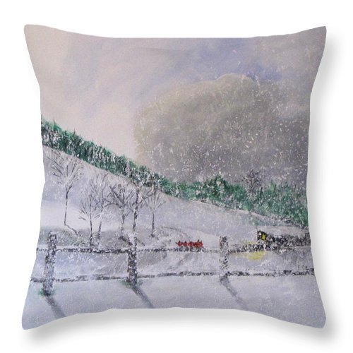 Snow Throw Pillow featuring the painting 5 Card Stud by Gary Smith