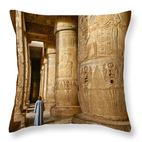 Egypt Throw Pillow featuring the photograph Colonnade In An Egyptian Temple by Michele Burgess