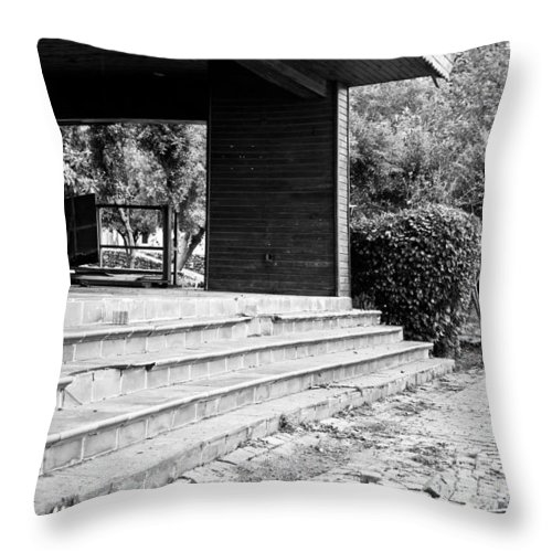Abandoned Throw Pillow featuring the photograph Derelict Building by Tom Gowanlock