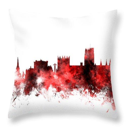 City Throw Pillow featuring the digital art Durham England Skyline Cityscape by Michael Tompsett