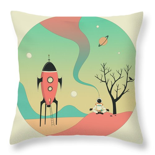 Retro Throw Pillow featuring the digital art Explore 4 by Jazzberry Blue