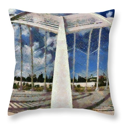 Olympic Throw Pillow featuring the painting Fish Eye View Of Archway In Olympic Stadium by George Atsametakis