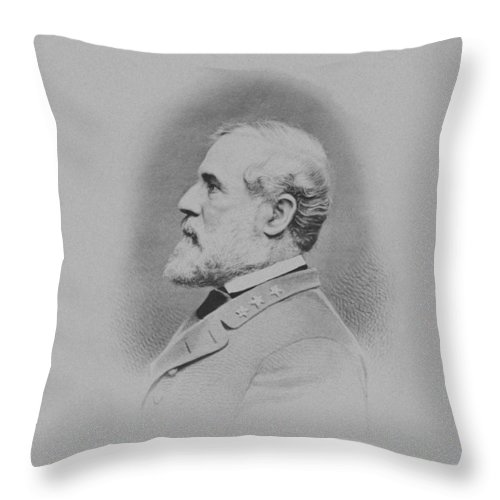 General Lee Throw Pillow featuring the mixed media General Robert E Lee by War Is Hell Store