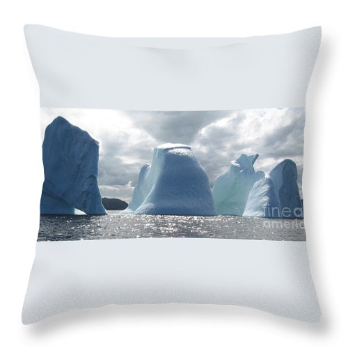 Iceberg Photograph Ice Water Ocean Altantic Newfoundland Summer Throw Pillow featuring the photograph Iceberg by Seon-Jeong Kim