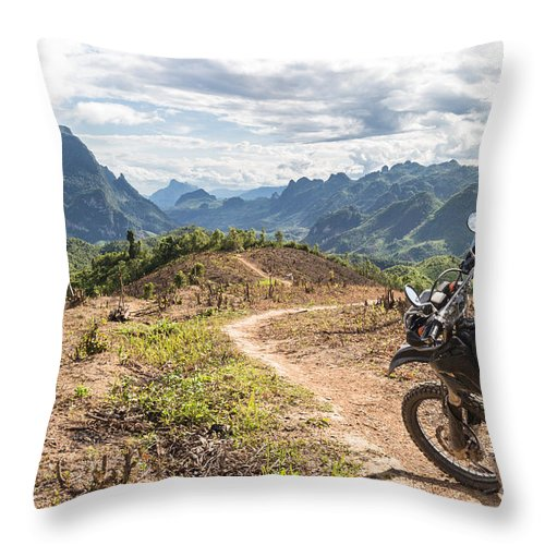 Kasi Throw Pillow featuring the photograph Landscape Around Kasi In North Laos by Didier Marti