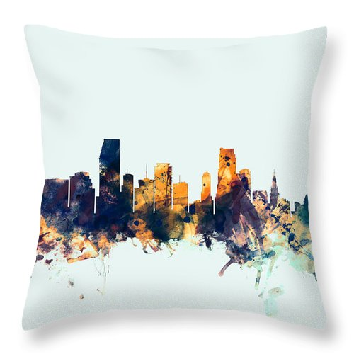 United States Throw Pillow featuring the digital art Miami Florida Skyline by Michael Tompsett