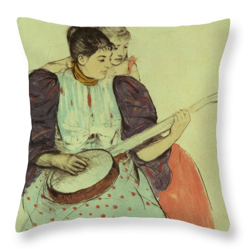 Banjo Throw Pillow featuring the painting Mother And Child by Mary Stevenson Cassatt