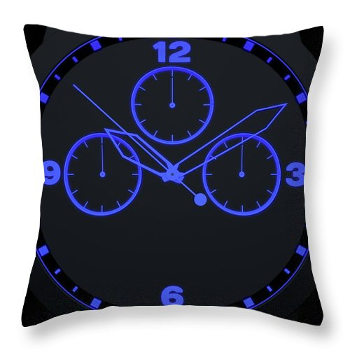 Animated Throw Pillow featuring the digital art Neon Watch Face by Allan Swart