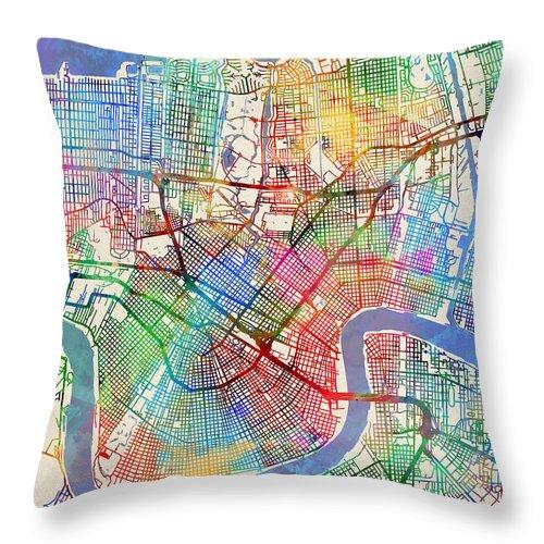 Street Map Throw Pillow featuring the digital art New Orleans Street Map by Michael Tompsett