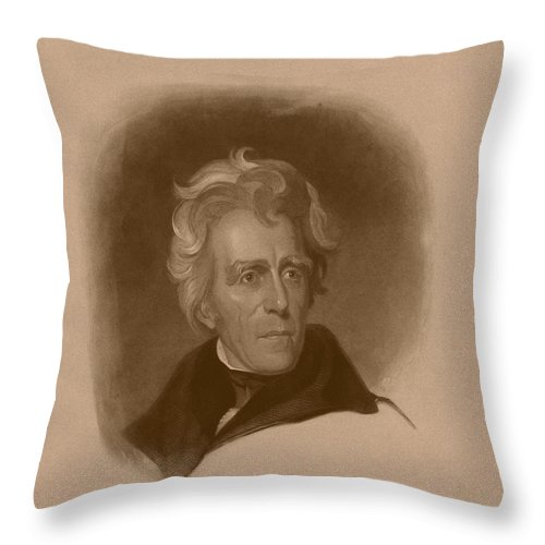 President Jackson Throw Pillow featuring the drawing President Andrew Jackson by War Is Hell Store