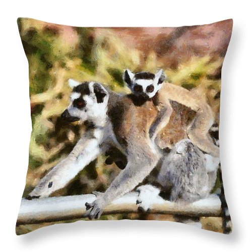 Ring Tailed Lemur Throw Pillow featuring the painting Ring Tailed Lemur With Baby by George Atsametakis
