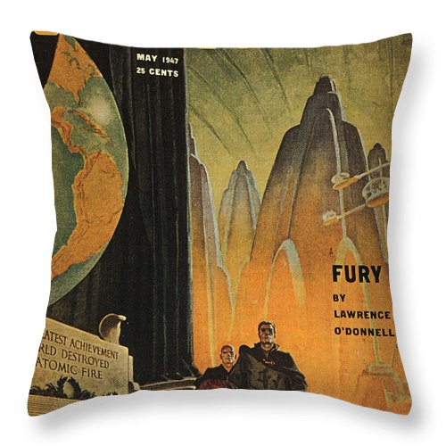 1947 Throw Pillow featuring the photograph Science Fiction Magazine by Granger