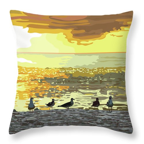 Living Room Throw Pillow featuring the digital art Seagulls At Sunset by Susan Spangler