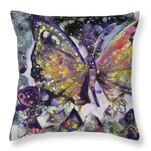 Butterfly Throw Pillow featuring the mixed media 5 by Tatsiana Roubine