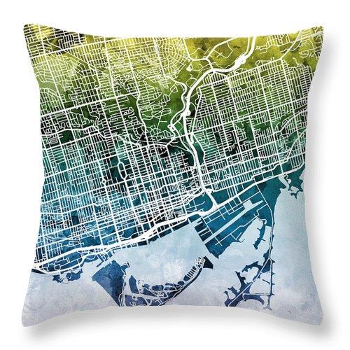 Street Map Throw Pillow featuring the digital art Toronto Street Map by Michael Tompsett