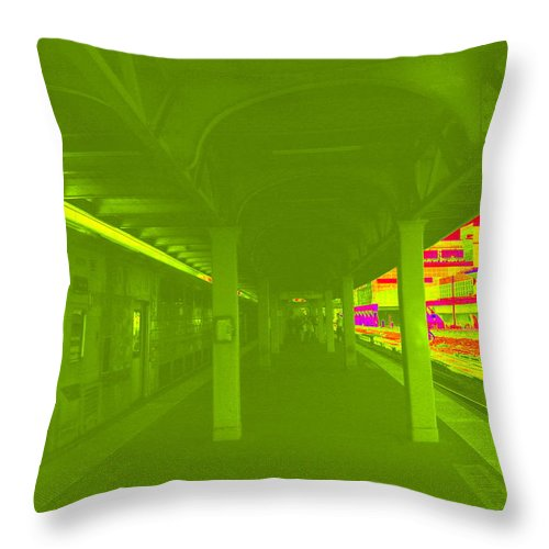 Colored Throw Pillow featuring the photograph Train Station Series by Rhona Lawrence