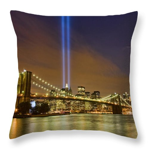 911 Throw Pillow featuring the photograph Twin Towers Of Light by June Marie Sobrito