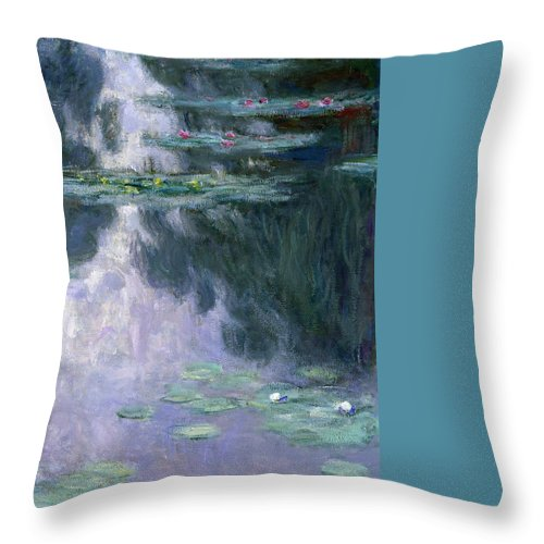Nympheas Throw Pillow featuring the painting Waterlilies by Claude Monet