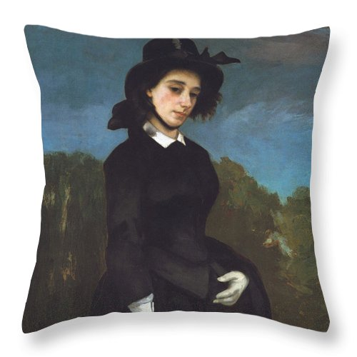 Vacation Throw Pillow featuring the painting Woman In A Riding Habit by Gustave Courbet