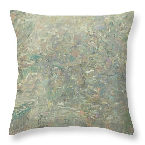 Bay Throw Pillow featuring the painting River by Robert Nizamov