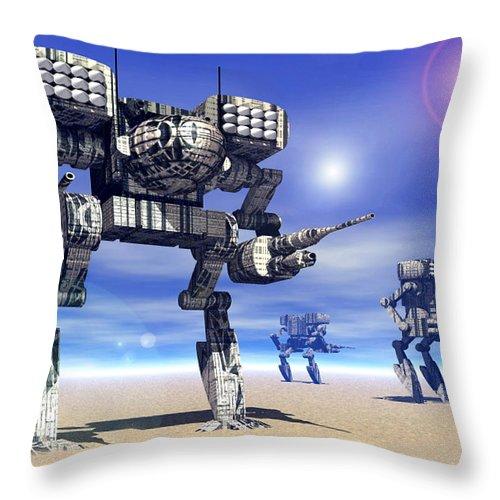 Science Fiction Throw Pillow featuring the digital art 501st Mech Trinary by Curtiss Shaffer