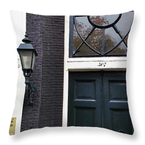 Amsterdam Throw Pillow featuring the photograph 507 Doors Of Amsterdam Green by Jost Houk