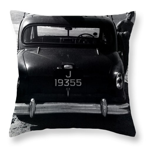 Surf Throw Pillow featuring the photograph 50's Surfer by Charles Stuart