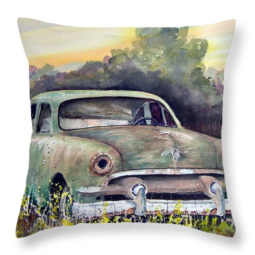 Car Throw Pillow featuring the painting 51 Ford by Sam Sidders
