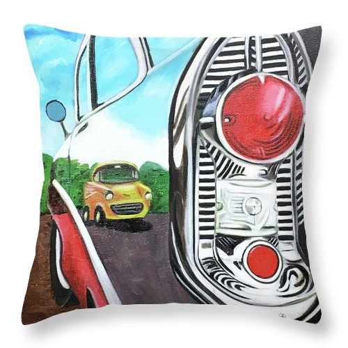 Glorso Throw Pillow featuring the painting 56 Chevy Reflections by Dean Glorso