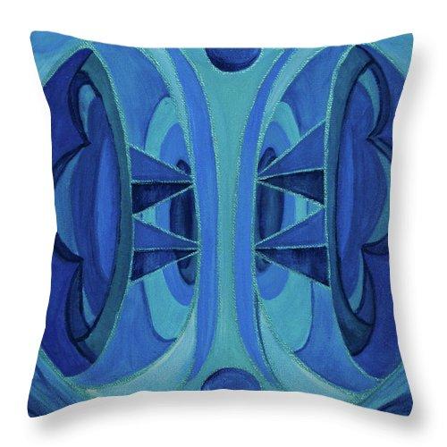 Mandala Throw Pillow featuring the painting 5th Mandala - Throat Chakra by Jennifer Christenson
