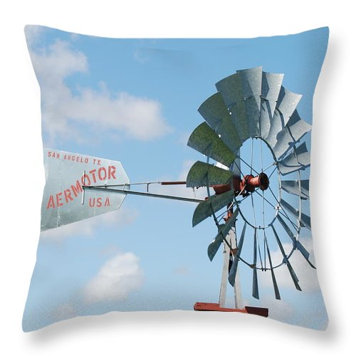 Blue Throw Pillow featuring the photograph Aermotor Windmill by Rob Hans
