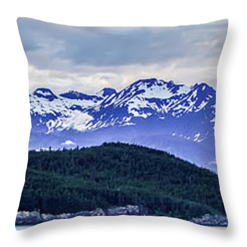 Alaska Throw Pillow featuring the photograph Alaska Nature And Mountain In June At Sunset by Alex Grichenko