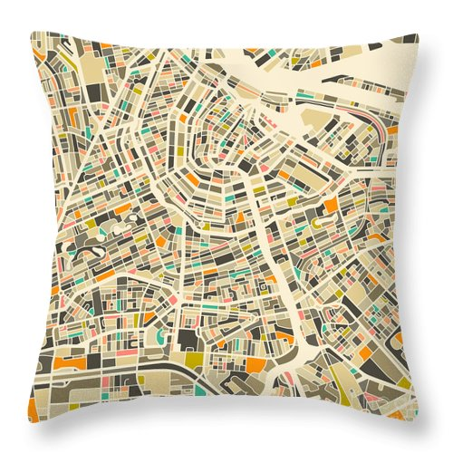 Amsterdam Throw Pillow featuring the digital art Amsterdam Map by Jazzberry Blue