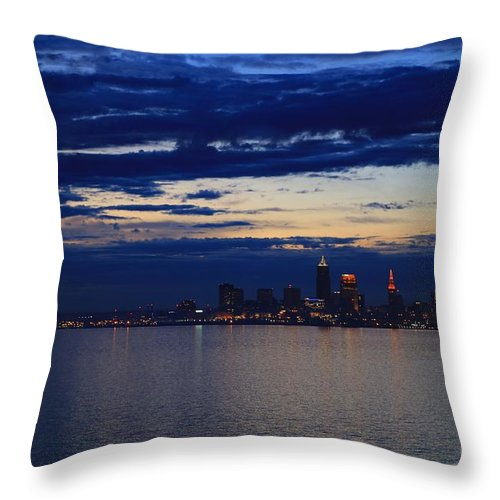 Destination Throw Pillow featuring the pyrography Cleveland City Skyline At Dusk by Douglas Sacha