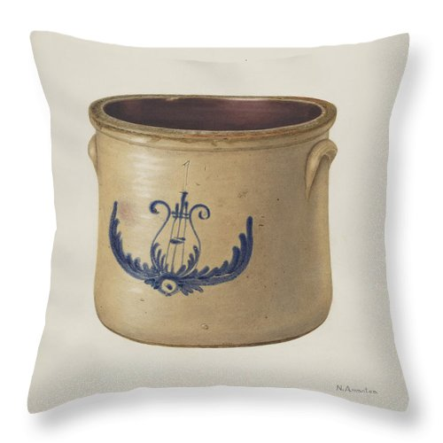 Throw Pillow featuring the drawing Crock by Nicholas Amantea