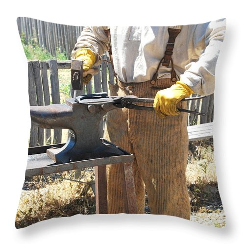 Man Throw Pillow featuring the photograph Male Farrier. by Oscar Williams
