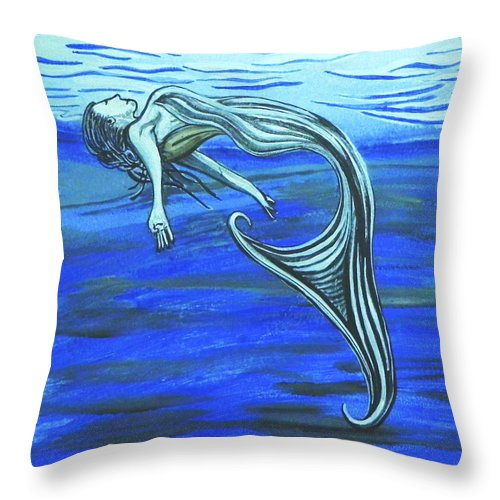 Mermaid Throw Pillow featuring the painting Mermaid by W Gilroy