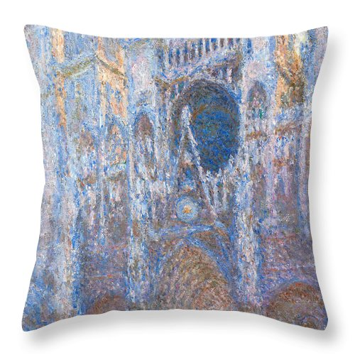 Architectural Throw Pillow featuring the painting Rouen Cathedral, West Facade by Claude Monet