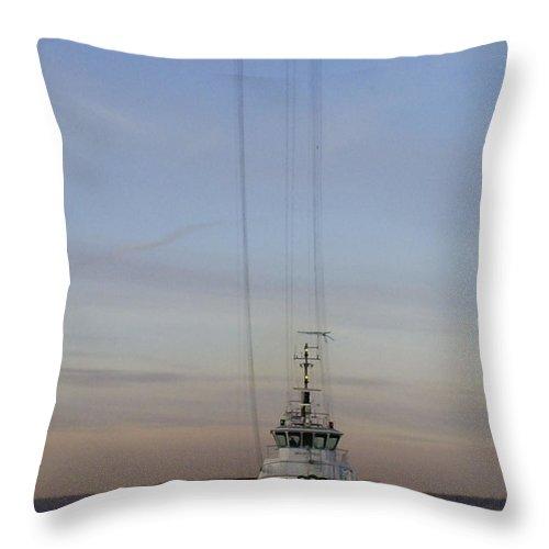 Tacoma Throw Pillow featuring the photograph The New Tacoma Narrows Bridge - Foss Tug by Alan Espasandin