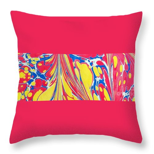 Abstract Throw Pillow featuring the painting Water Marbling Art, Ebru by Dilan C