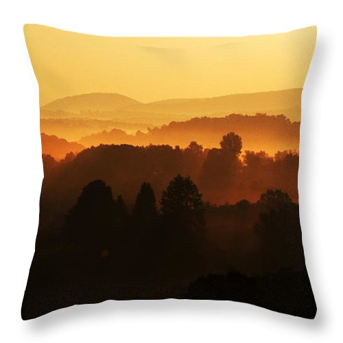 Sunrise Throw Pillow featuring the photograph West Virginia Misty Mountain Sunrise by Thomas R Fletcher