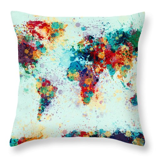 Map Of The World Throw Pillow featuring the digital art World Map Paint Splashes by Michael Tompsett