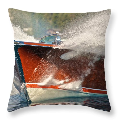 Runabout Throw Pillow featuring the photograph Riva Aquarama by Steven Lapkin
