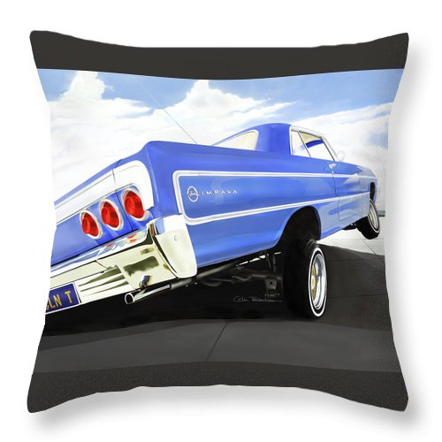Lowrider Throw Pillow featuring the digital art 64 Impala Lowrider by Colin Tresadern