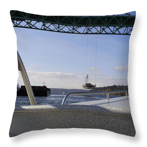 Tacoma Throw Pillow featuring the photograph The New Tacoma Narrows Bridge by Alan Espasandin
