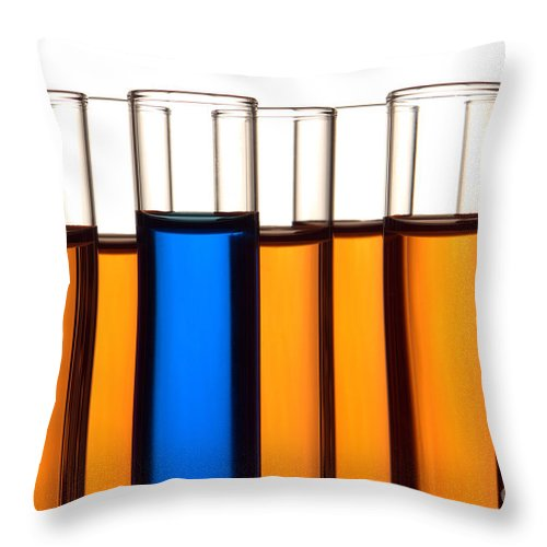 Chemical Throw Pillow featuring the photograph Test Tubes In Science Research Lab by Olivier Le Queinec