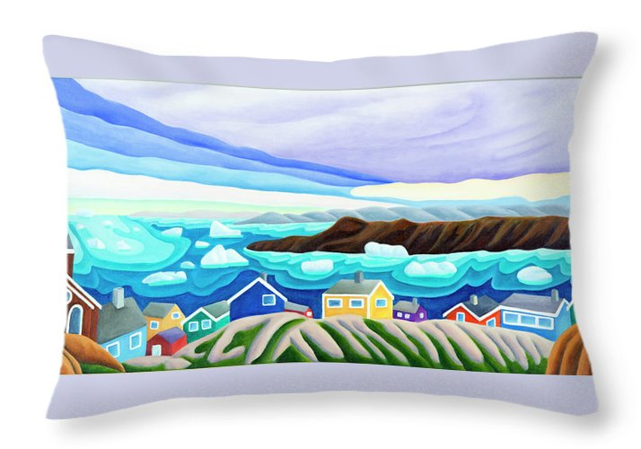 Arctic Landscape. Greenland Throw Pillow featuring the painting 69 Degrees 13 Minutes North by Lynn Soehner