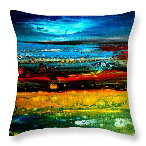 Acrylic Throw Pillow featuring the painting Abstract Landscape by Nelu Gradeanu